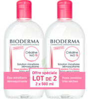 CREALINE TS H2O Solution micellaire sans parfum nettoyante apaisante 2Fl/500ml à JACOU