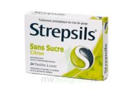 STREPSILS CITRON SANS SUCRE, pastille édulcorée à l'isomalt, au maltitol et à la saccharine sodique à JACOU