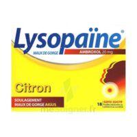LYSOPAÏNE AMBROXOL 20 mg Pastilles maux de gorge sans sucre citron Plq/18 à JACOU