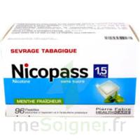 Nicopass 1,5 mg Pastille sans sucre menthe fraîcheur Plq/96 à JACOU