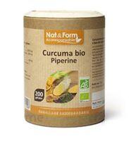 Nat&Form Eco Responsable Curcuma + Pipérine Bio Gélules B/200 à JACOU