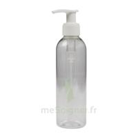 Flacon PET transparent avec pompe crème blanche 200ml à JACOU